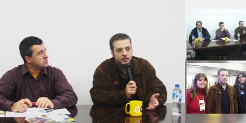O repórter Darci de Bona e Francisco (foto maior), os três debatedores na mesa e Francisco com Tatiana e Patrícia, da i9