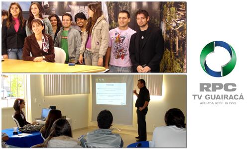 i9 no estúdio do Paraná TV 2ª edição e durante o workshop